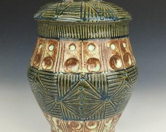 Green geometric ceramic cookie jar, carved pottery jar, kitchen storage jar, wheel thrown pottery jar, lidded jar