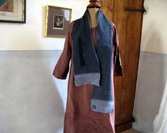 French antique rough linen chanvre skinny scarf (11),dyed charcoal and mid grey with stitching detail 160cm long x 19cm wide hand stitched