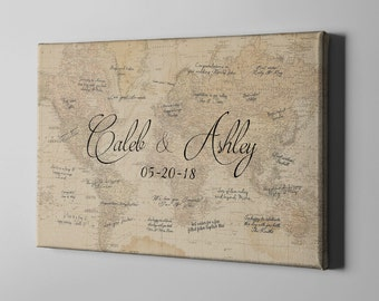 SALE 50% Off Canvas Guest Book, World Map Signature GuestBook, Destination Wedding Guest Book, Gift Idea for NewlyWeds, Gift under 70 -CGB67