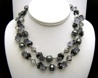 Vintage Vendome Bead Necklace Grey Black Art Glass Faux Pearl Rhinestones