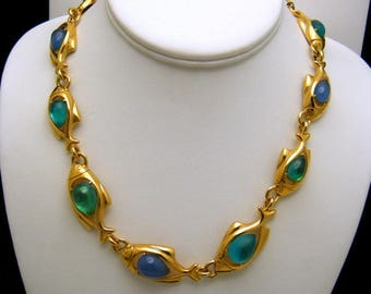 Trifari TM Gorgeous Vintage Glowing Acrylic Belly Fish Necklace Gold Tone