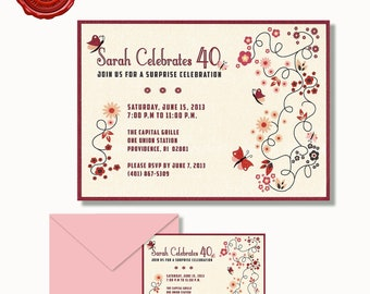 CUSTOM BIRTHDAY INVITATION Flowers and Butterflies
