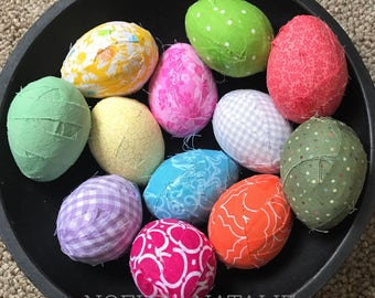 Set of 1 dozen Fabric Covered Easter Eggs