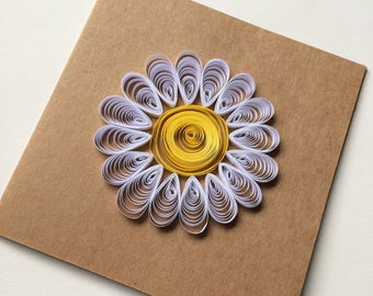 Handmade Quilled Daisy Flower on 12cm Square Recycled Card, Greeting Card