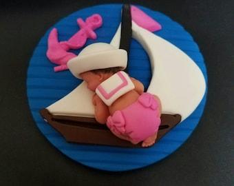 Fondant edible baby girl nautical sailor cake topper