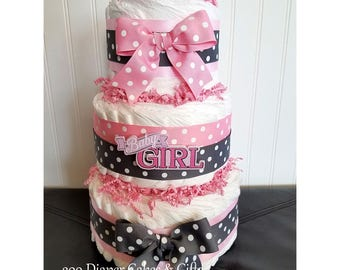 3-Tier Pink and Gray Polka Dot Baby Girl Diaper Cake