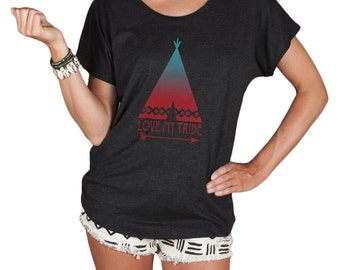 Womens Top, Love My Tribe Women's Flowy Top- Women's Graphic Tshirt- Loose Fitting Off The Shoulder Tee by Feather 4 Arrow