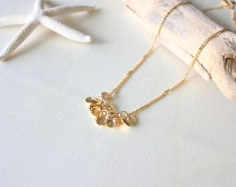 Shell necklace/ Golden necklace/ Jewel for woman