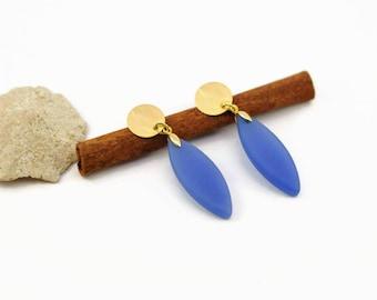 Blue Sea Glass Earrings, Blue Beach Sea Glass Earrings, Royal Blue Dangle Earrings, Clip on Earring, Cobalt Blue Earring, Blue Drop earring