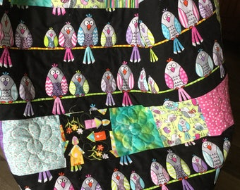 Handmade quilt for sale, owl quilt, girls quilt, baby quilt, owl nursery, lap quilt, homemade quilt, quilts on sale, kids quilt