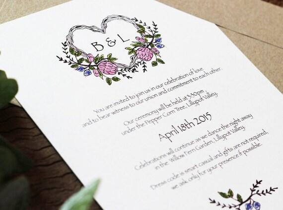 Native American Wedding Invitations: Native Flower Wedding Invitation By DeerDaisy On Etsy