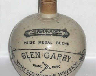 Glen Garry England London and Glasgow Whisky Liquor Empty Bottle Decanter - Jug w Spout  - Stoneware Pottery