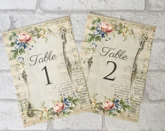 Wedding table cards, numbers or names, shabby chic vintage style design with flowers