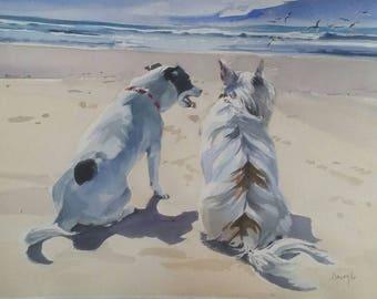Dog Painting, Dogs, Dog Portraits, Beach, Animal Portraits, Watercolor Portraits