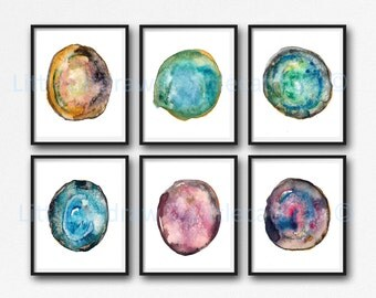 Geode Print Agate Slice Print Set Of 6 Bedroom Wall Decor Mineral Gem Crystal Home Decor Wall Art