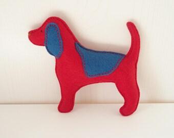 Beagle Baby Rattle - Wool Blend Felt Toy