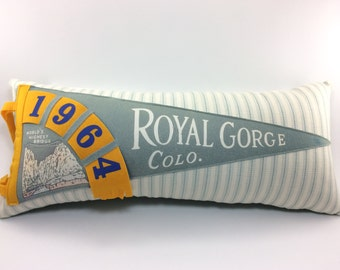 Royal Gorge Colorado 1964 Vintage Pennant Pillow - 19 inches