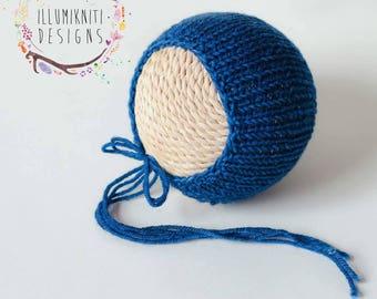 Celestial Blue Newborn Knit Bonnet - Newborn Simple Knit Bonnet - Newborn Photo Prop Bonnet - Dark Blue Newborn Prop - Blue Newborn Bonnet