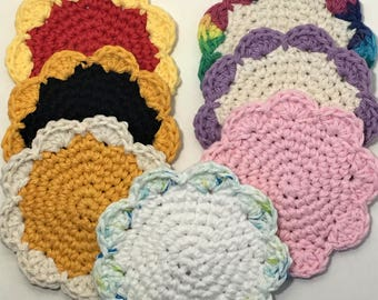 Hand Crocheted Flower Coasters set of 6