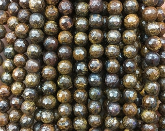6mm Natural Bronzite Beads, Faceted Beads Gemstone, Round Loose Bronzite Stone Beads, Jewelry Making Beads Supplies 15''
