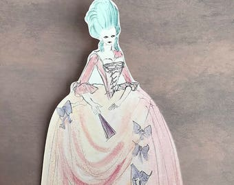 Original Watercolor Painting Marie Antoinette Bookmark - Glitter Paper Doll Bookmark - Fairytale Bookmark - Gift Card - Watercolour Painting