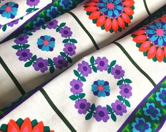 Dekoplus 60s mid century modern vintage valance floral mod pattern retro dutch design modern vintage curtain scandi fabric pink and purple