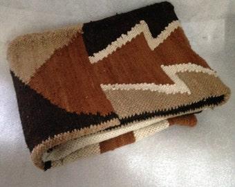 Vintage Woven Wool Rug Wall Hanging Tribal, Ethnic, Southwestern Rug Or Wall Hanging