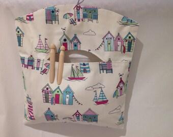 Nautical Fabric Peg Bag, Clothespin Bag, Laundry Bag, Beach Hut