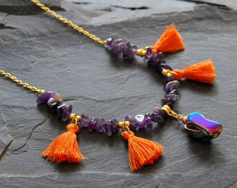 Boho statement necklace, Orange tassel necklace, Wrapped crystal and Amethyst necklace, Layered gold necklace, Gift for Mom, 1162