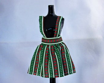 """Vintage 11"""" to 12"""" Doll Clothes Green Suspender Skirt with Red Heart White Stripe Nordic Style Pattern for Barbie Midge Tammy Gifts for Her"""