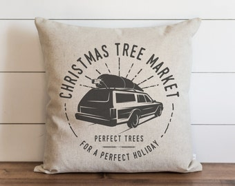 Christmas Tree Market 20 x 20 Pillow Cover // Christmas // Holiday // Throw Pillow // Gift  // Accent Pillow