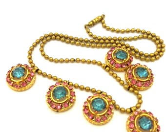 Vintage Wonderful Multicolored Glass Facet Stone Necklace Gold Plated