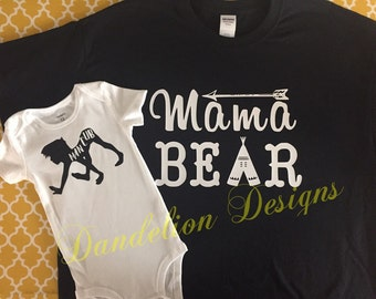 Mama Bear and Man Cub Mommy and Me Set Momma Bear Mother and Son Mom of Boys