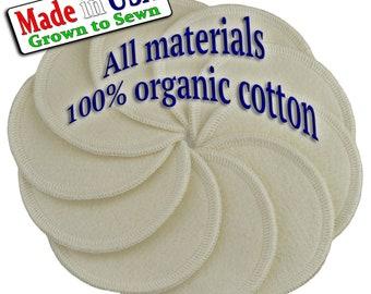 IRREGULAR - Organic Cotton Facial Rounds / Pads, set of 10 + Organic Cotton Wash Bag, Reusable , Washable, Made In USA