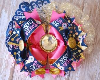 Navy & Pink Dream Catcher OTT Hair Bow