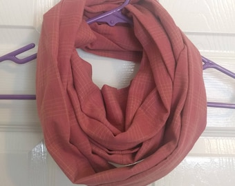 Red, flannel eternity scarf, handmade