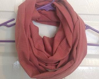 Red, flannel eternity scarf, handmade
