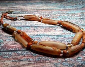 Lampwork Necklace Murano beads Lampwork beads handmade Lampwork Jewelry Hollow balls leather cord Beads peach brick ivory blown beads Matte.