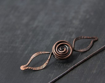Shawl pin, scarf pin, copper rose and leafs shawl in, spiral, flower, antique copper, textures, brooch, sweater pin, rustic, woodland