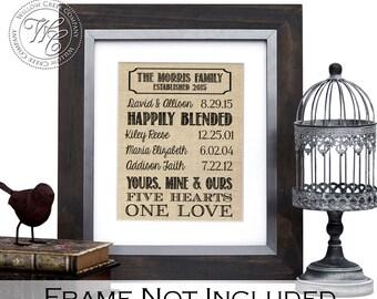 Blended family wedding gift, family name sign, established blended family Sign, Last Name Sign, family gift, Step Family, Remarriage gift,