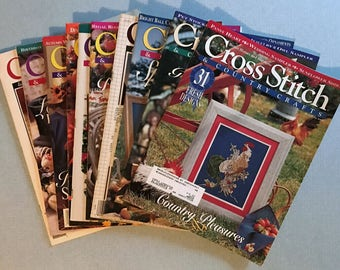 Lot of 10 Cross Stitch & Country Crafts Magazines, 1987-1996