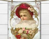 Shabby Digital Victorian Girl with Roses, Vintage Christmas Girl, French Christmas Pillow Transfer Graphic Download