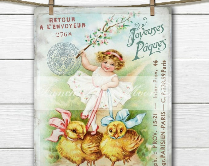 Vintage Digital Girl with Easter Chicks, Vintage French Easter Graphic, French Easter Transfer Transfer, Pillow Image, Large Size, Download