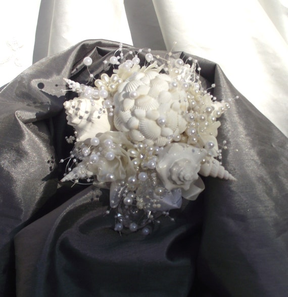 Sea Shell Bride Bouquet White And Ivory Pearl Beach Wedding