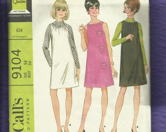 1960's McCalls 9104 Shift or Jumper with Drawstring Neckline & Raised Neck Top  Size 14
