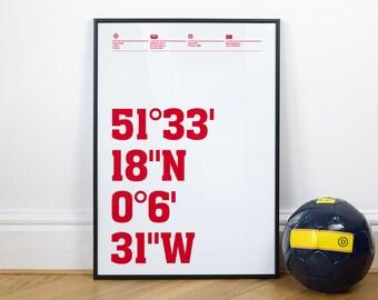 Arsenal Football Stadium Coordinates Posters