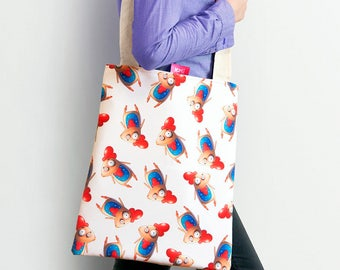 Cotton tote bag with little roosters