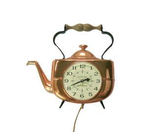 Vintage Electric General Electric Kitchen Clock, Copper Tone Tea Pot Kettle