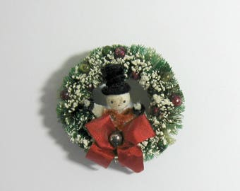 Vintage Bottle Brush Wreath Pin with Chenille Stem Snowman and Mercury Glass Balls
