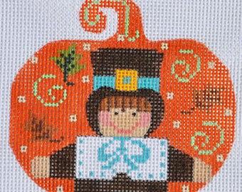 Needlepoint Handpainted Thanksgiving Danji PUMPKIN Pilgrim Boy 3x3 -Free US Shipping!!!